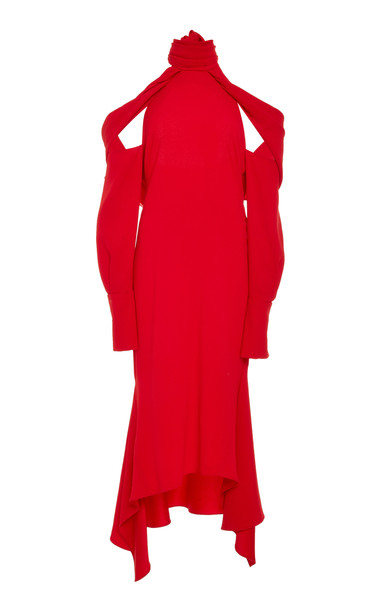 MONSE T-Neck Drape Hem Dress Size: 8 in red