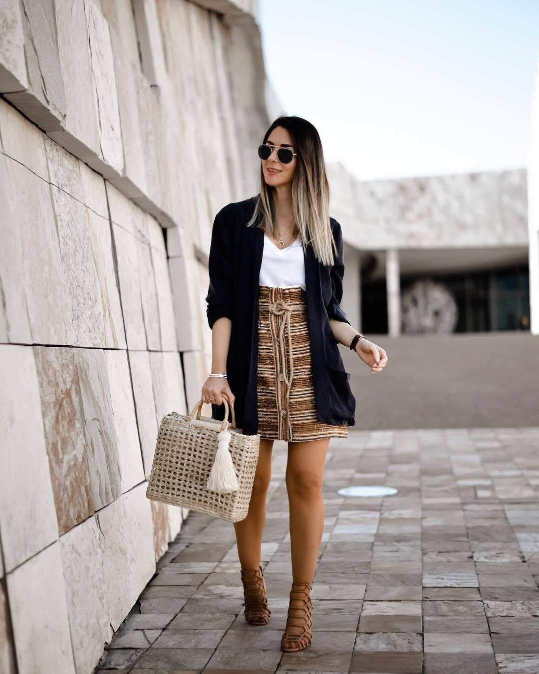 sweater blazer navy high waisted skirt mini skirt sandal heels handbag white t-shirt v neck