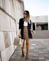 sweater,blazer,navy,high waisted skirt,mini skirt,sandal heels,handbag,white t-shirt,v neck