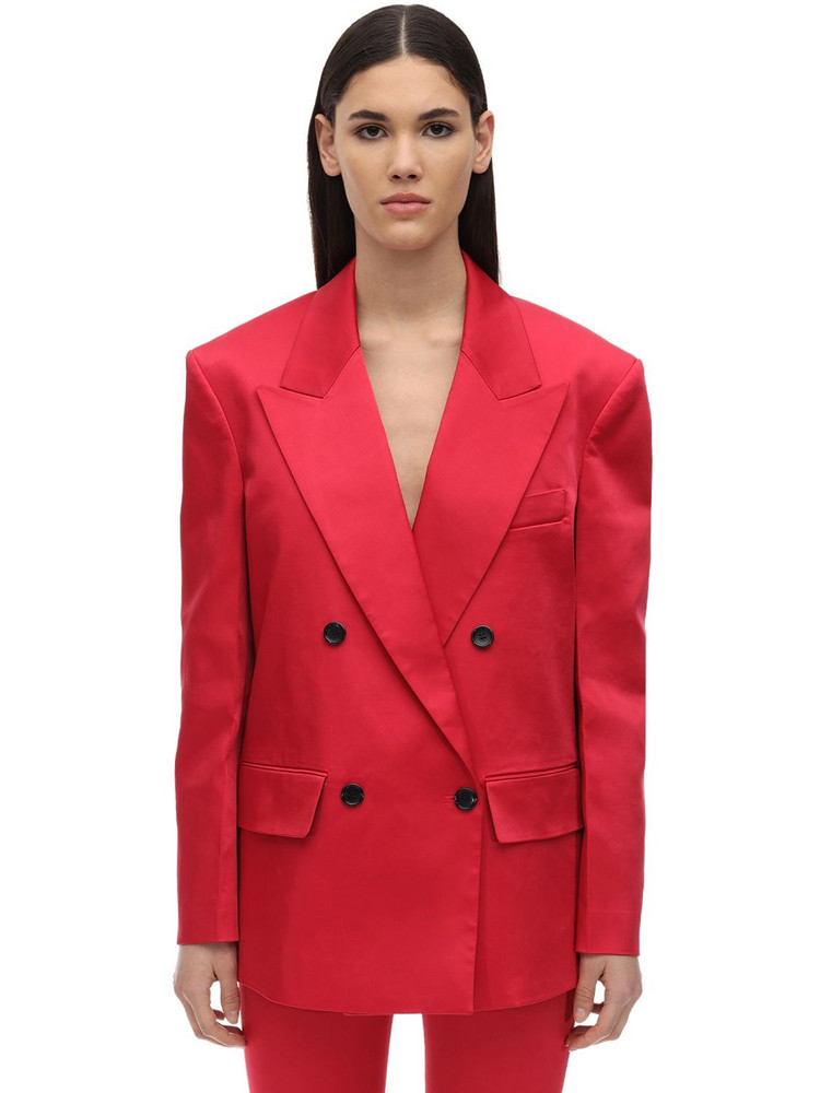 WE11 DONE Back Zipped Thick Satin Blazer in red