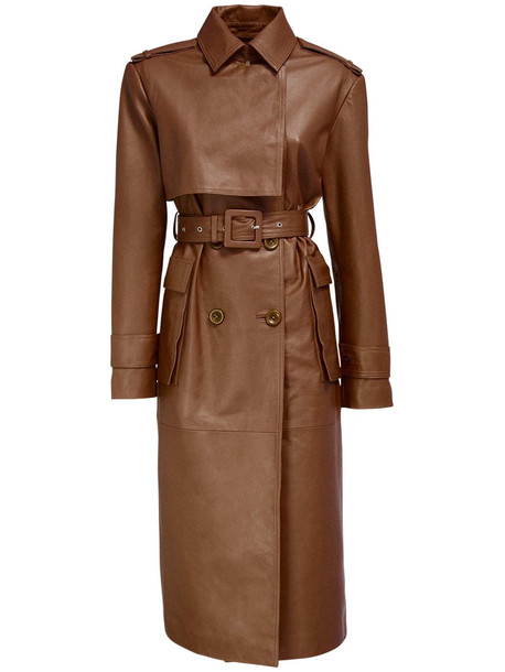 REMAIN Pirello Leather Trench Coat W/ Belt in brown