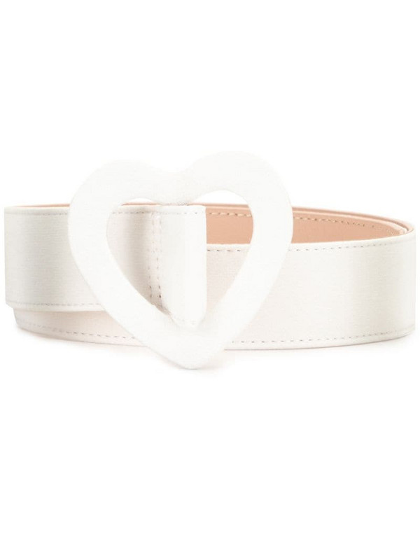 Paule Ka heart shape-buckle belt in white