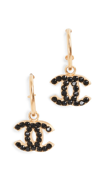 What Goes Around Comes Around Chanel Black Crystal CC Earrings