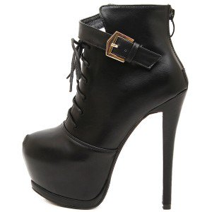Women's Leila Black Leather Lace-up Stiletto Heel Ankle Boots Stripper Shoes