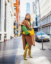 shoes,knee high boots,snake print,yellow,heel boots,poncho,dress,yellow bag