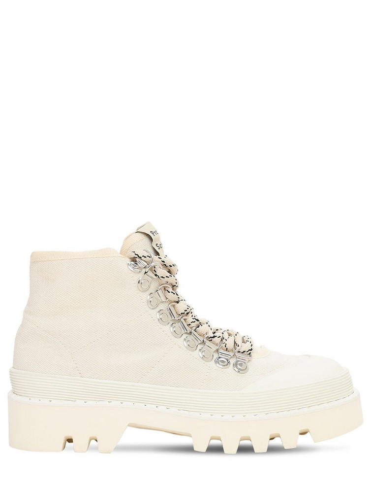 PROENZA SCHOULER 40mm City Lug Canvas Hiking Boots in white