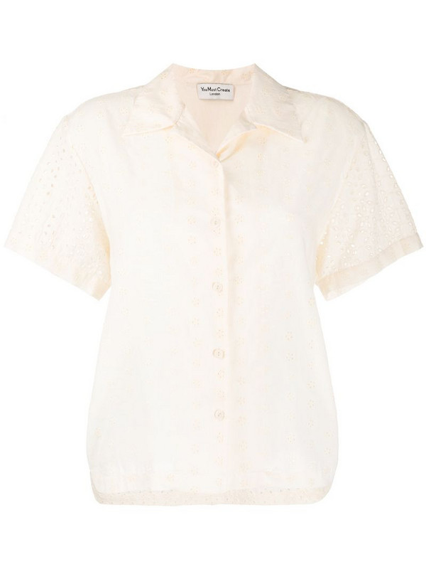 YMC broderie anglaise shirt in neutrals