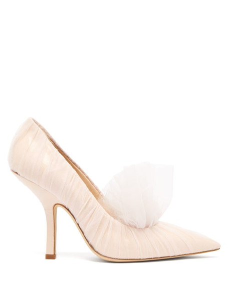 Midnight 00 - Shell Point-toe Tulle & Patent-leather Pumps - Womens - Light Pink
