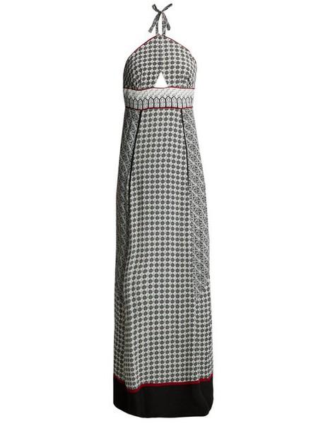 Talitha - Scarf Print Halterneck Silk Dress - Womens - White Multi