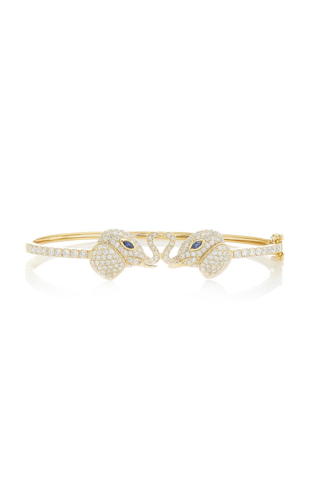 Ofira Diamond Kissing Elephant Cuff in gold