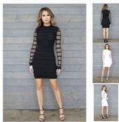 dress,black dress,black,stripes,fishnet tights,mini dress,mini,midi dress,black top