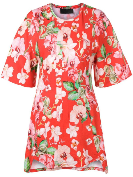 Philipp Plein floral print dress in red