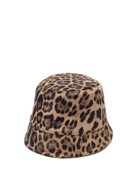 Maison Michel - Souna Leopard-print Calf-hair Bucket Hat - Womens - Leopard