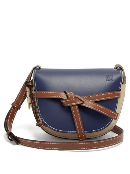 Loewe - Gate Small Leather Cross Body Bag - Womens - Blue Multi