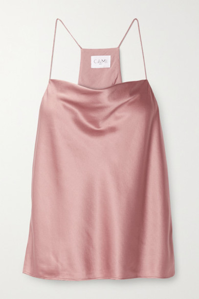 Cami NYC - The Aggie Draped Silk-blend Charmeuse Camisole - Antique rose