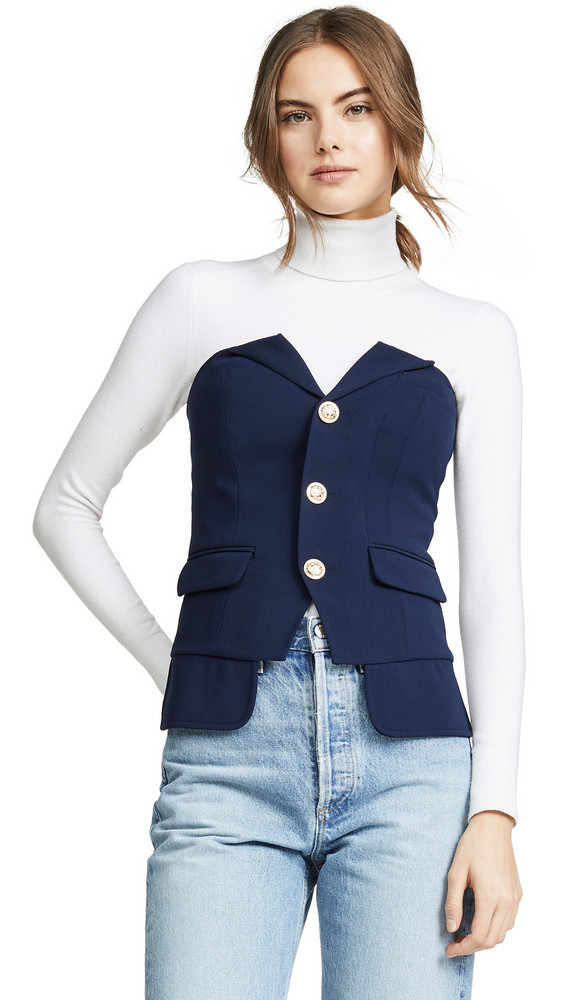 LAVEER Button Up Bustier Top in navy