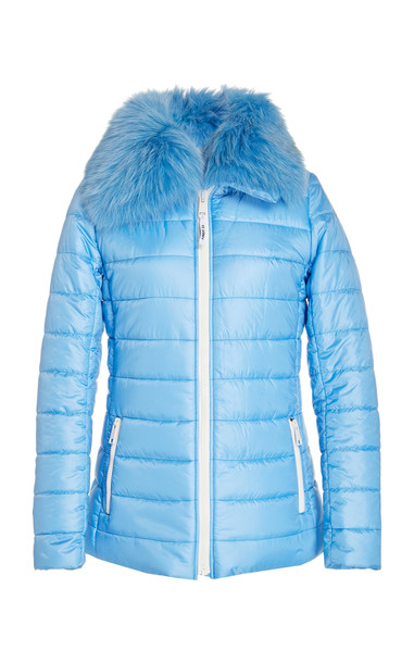 Yves Salomon Paris Fur-Trimmed Quilted Shell Puffer Jacket Size: 36 in blue