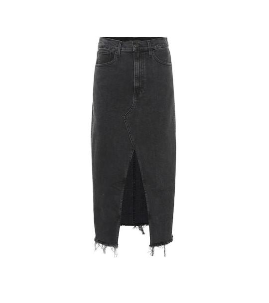 3x1 Elizabella denim midi skirt in black