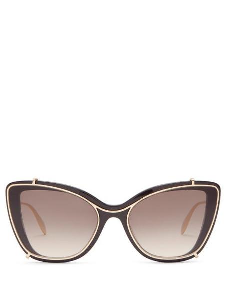 Alexander Mcqueen - Contoured-frame Cat-eye Acetate Sunglasses - Womens - Black Grey