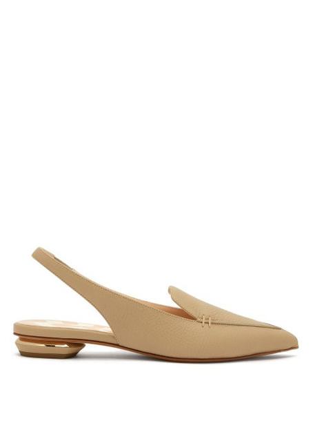 Nicholas Kirkwood - Beya Slingback Grained Leather Loafers - Womens - Light Beige