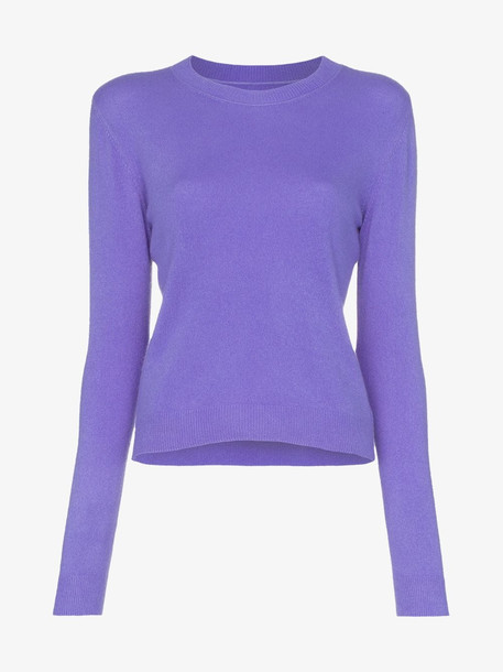 The Elder Statesman billy cropped cashmere jumper in purple