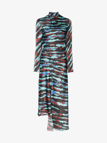 HOUSE OF HOLLAND Tie-Dye Asymmetric Midi Dress in blue