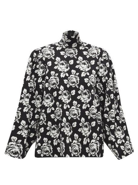 Balenciaga - Jacquard-knit Virgin Wool-blend Sweater - Womens - Black White