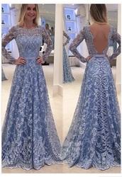 dress,blue dress,lace,full length,a line dress,prom dress,prom,modest dress,backless
