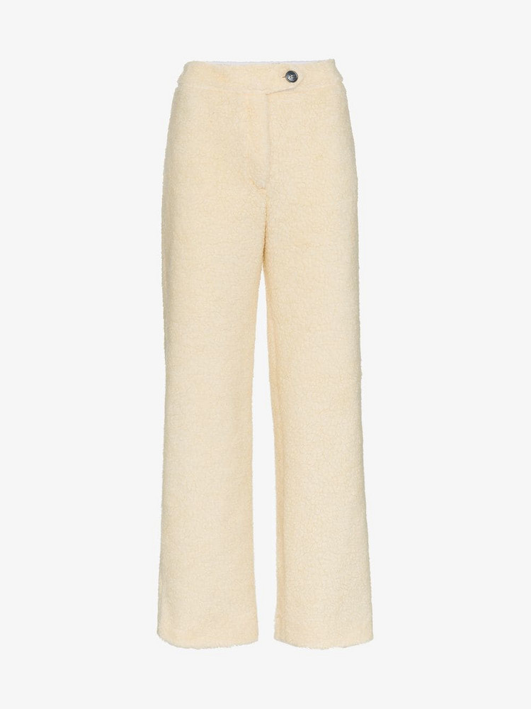 Mira Mikati faux shearling trousers in neutrals