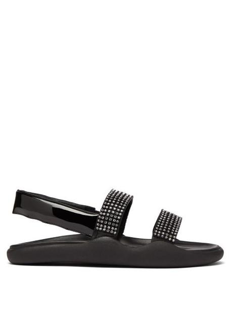 Christopher Kane - Crystal Embellished Leather Slingback Sandals - Womens - Black