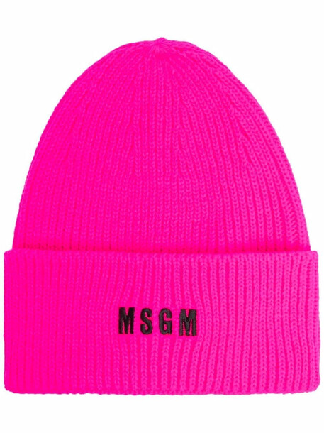 MSGM logo-embroidered beanie - Pink