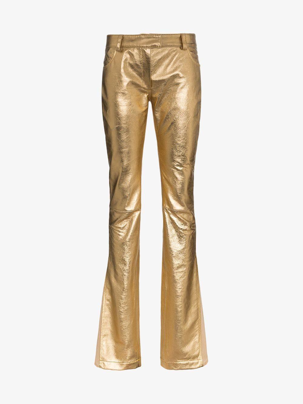 60cd196ca29 Ronald Van Der Kemp Slim Flared Leg Leather Trousers in gold