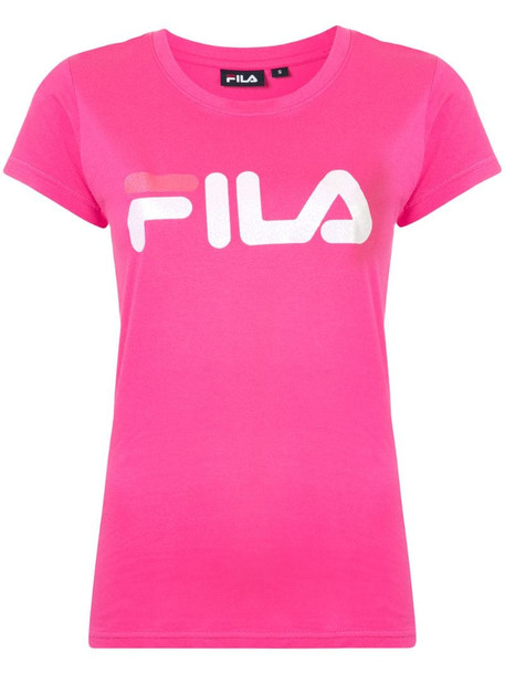 Fila logo print T-shirt in pink