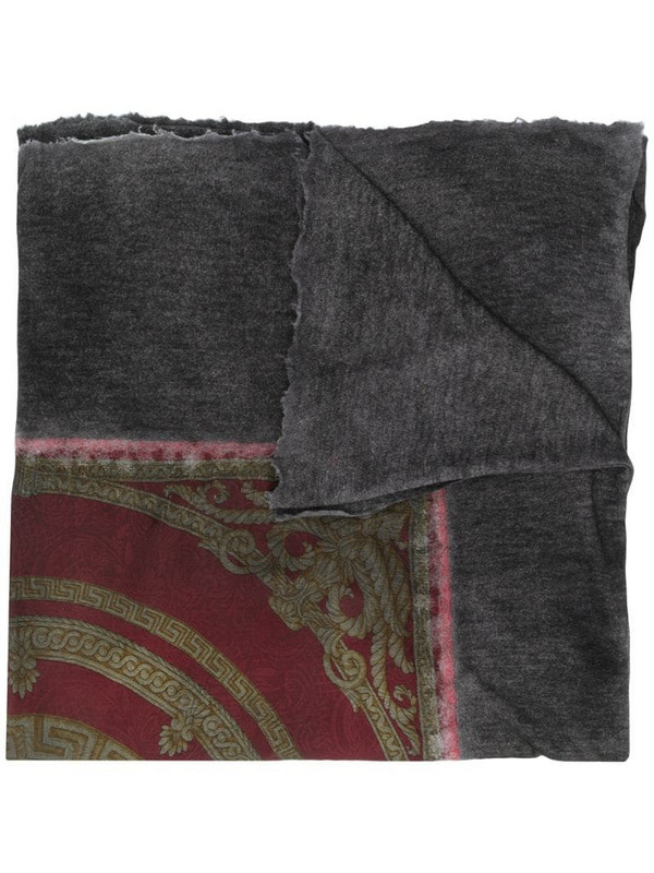 Avant Toi baroque-print raw-edge scarf in black