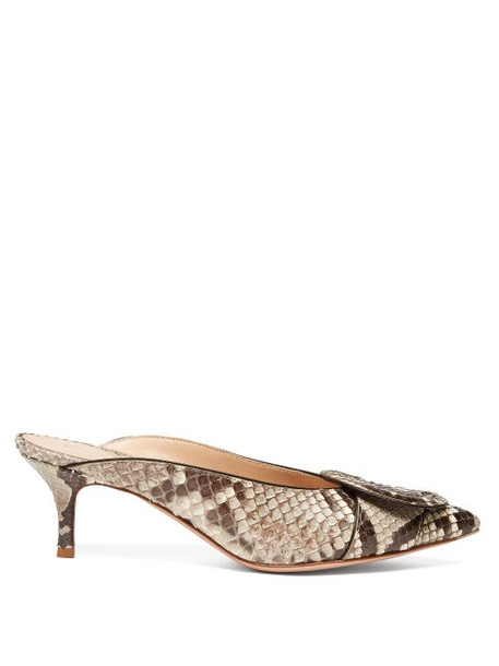 Gianvito Rossi - Ruby 55 Buckled Python Mules - Womens - Grey Multi