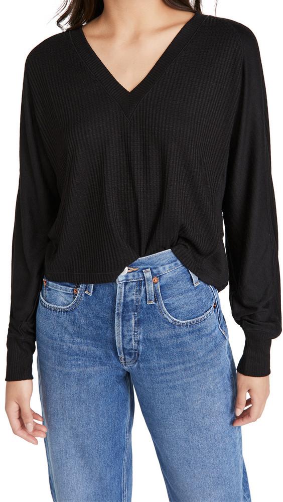 Rag & Bone/JEAN The Knit Racer Pullover in black