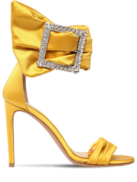 ALEXANDRE VAUTHIER 100mm Yasmine Embellished Satin Sandals in yellow