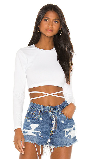 superdown Tatum Tie Back Crop Top in White