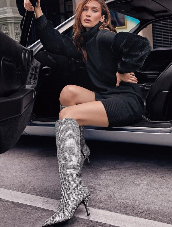 shoes glitter sparkle boots bella hadid model editorial instagram mini dress