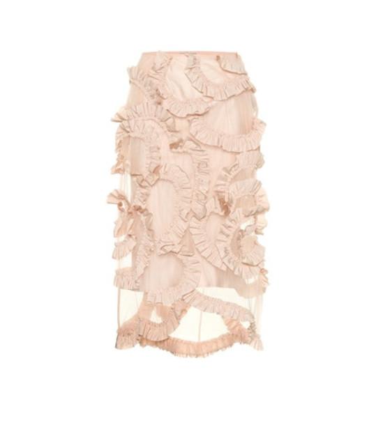 Moncler Genius 4 MONCLER SIMONE ROCHA ruffled mesh skirt in pink