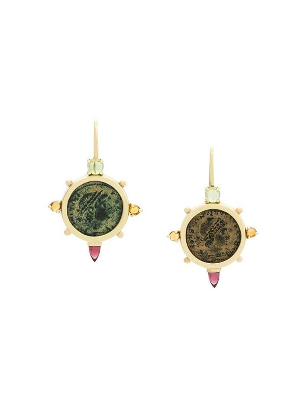 Dubini Empress Coin Cross 18kt gold earrings in metallic