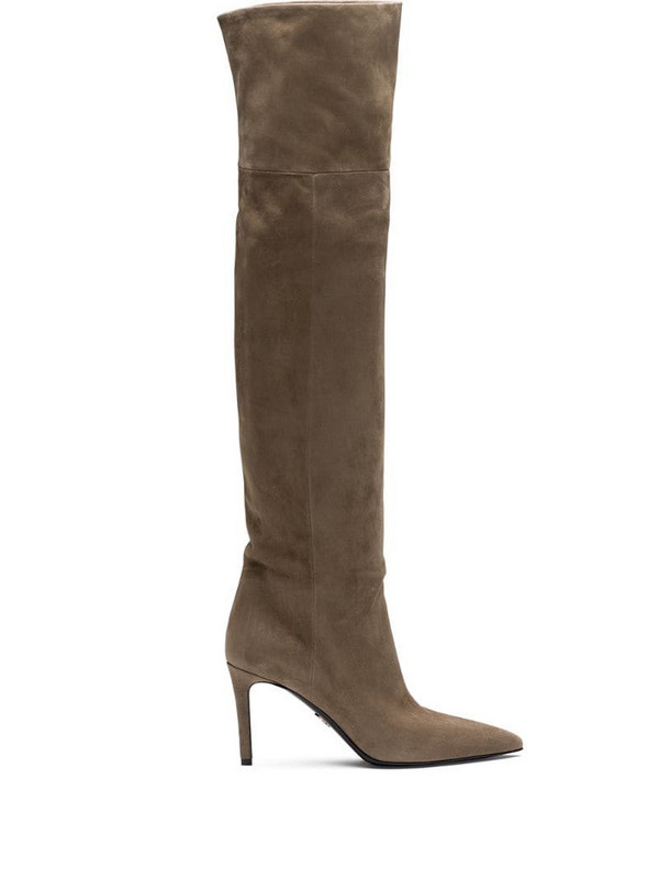 Prada pointed toe thigh-length boots in brown