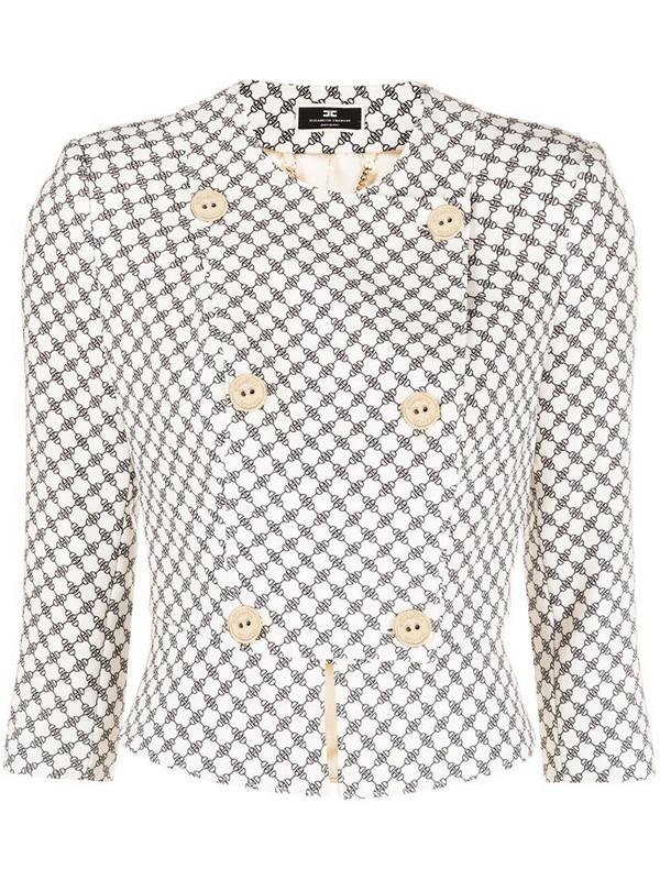 Elisabetta Franchi graphic-print cropped jacket in neutrals