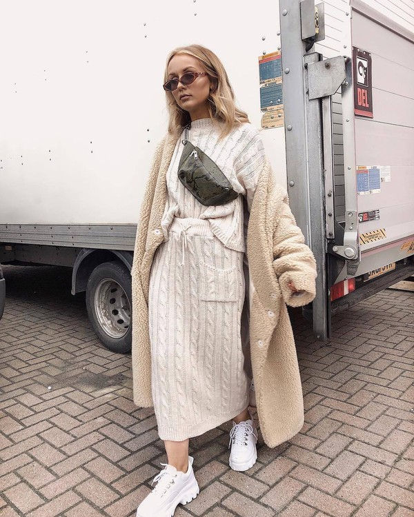 skirt knitted skirt cable knit set knitted sweater white shoes platform shoes teddy bear coat belt bag