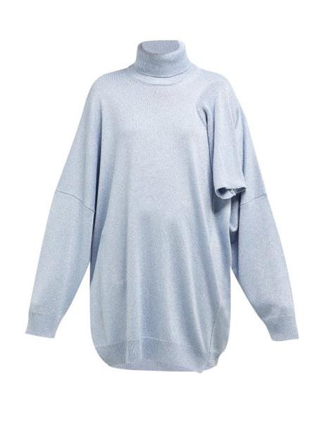 Raf Simons - Draped Panel Lamé Sweater - Womens - Light Blue
