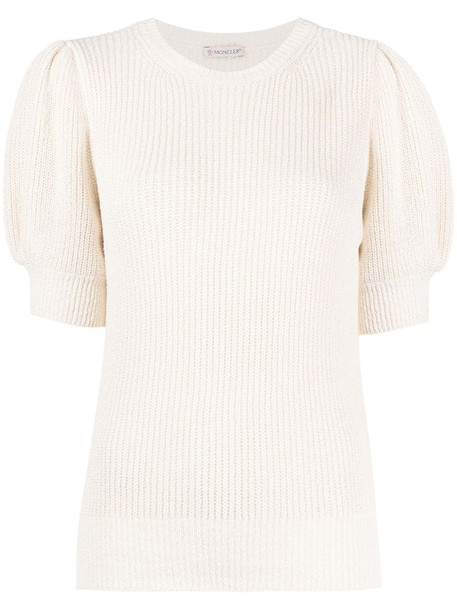 Moncler ribbed knit puff-sleeve top in neutrals