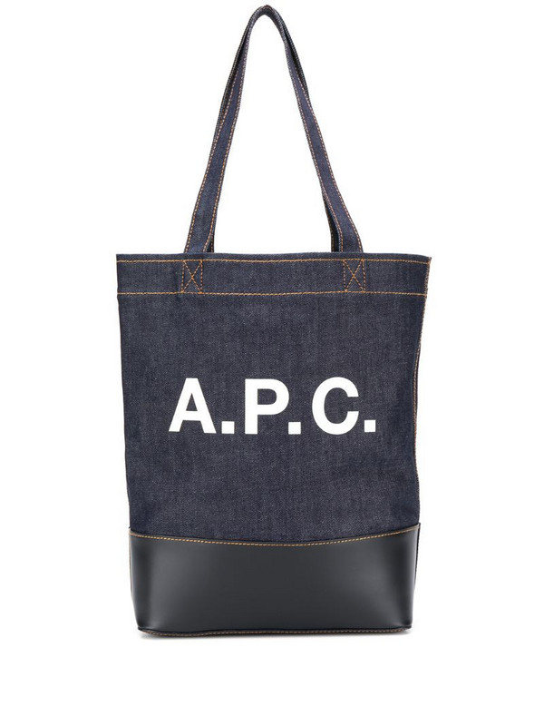 A.P.C. logo print denim tote in blue