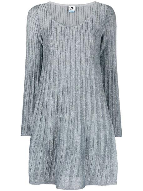 M Missoni metallic-threaded long-sleeved ribbed dress in blue
