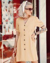 dress,mini dress,short sleeve dress,woven bag,handbag,sunglasses,scarf