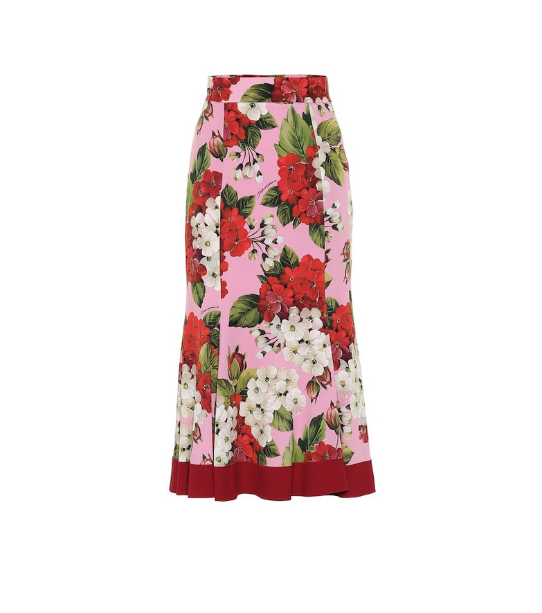 Dolce & Gabbana Floral stretch-silk midi skirt in pink